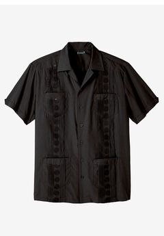 Short-Sleeve Guayabera Shirt by KS Island™, BLACK, hi-res
