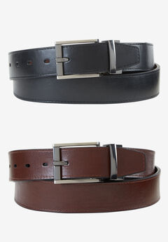 Leather Feather Edge Reversible Belt by Dockers®, BLACK BROWN, hi-res