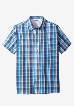 Easy-Care Short-Sleeve Plaid Sport Shirt, SLATE BLUE PLAID