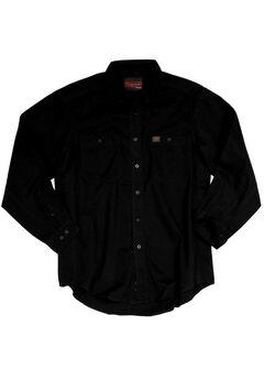 Long-Sleeve Cotton Work Shirt by Wrangler®, BLACK, hi-res