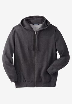 Fleece Zip-Front Hoodie, HEATHER CHARCOAL, hi-res