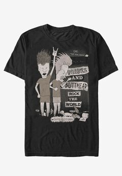 Rocking Out Graphic Tee, BEAVIS AND BUTTHEAD