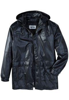 Leather Parka with Hood, BLACK, hi-res