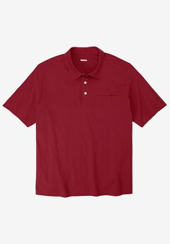 Shrink-Less™  Lightweight Short-Sleeve Polo Tee, RICH BURGUNDY