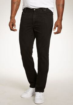 Relaxed Tapered Fit Side Elastic 5-Pocket Jeans by Liberty Blues®, BLACK, hi-res