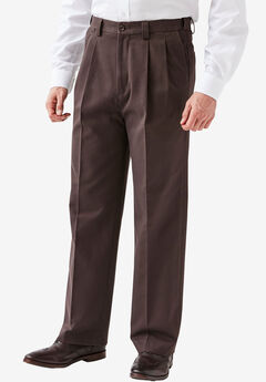 Relaxed Fit Wrinkle Free Expandable Waist Pleat Front Pants,