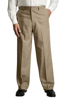No Hassle® Classic Fit Expandable Waist Plain Front Dress Pants by KS Signature, TAUPE, hi-res