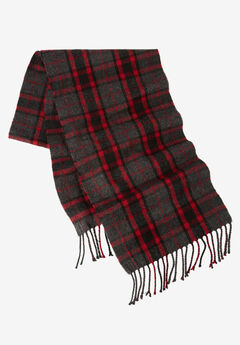 Extra Long Scarf, CHARCOAL RED PLAID, hi-res