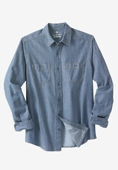 Long-Sleeve Utility Shirt by Liberty Blues®, RAILROAD STONEWASH DENIM