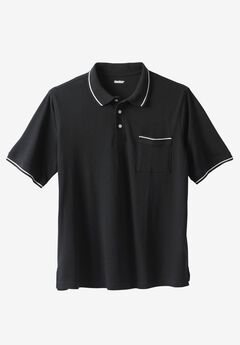 Tipped Piqué Polo , BLACK, hi-res