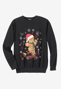 Festive Fleece Crewneck, ANGRY GINGERBREAD