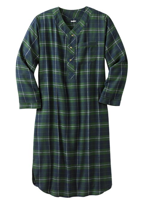 Plaid Flannel Nightshirt Plus Size Robes Sleepwear King Size