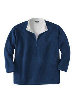 Explorer Fleece  ¼  Zip with Sherpa Collar, NAVY, hi-res