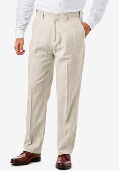 Linen Blend Plain Front Pants by KS Island™,