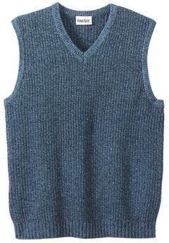 Shaker Knit V-Neck Sweater Vest, NAVY MARL, hi-res
