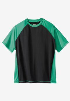 Raglan Sleeve Swim Shirt, BLACK SEA GREEN, hi-res