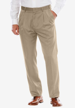 No Hassle® Modern Fit Expandable Waist Double-Pleat Dress Pants, TAUPE