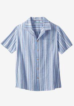 Gauze Cotton Camp Shirt, STRIPE, hi-res