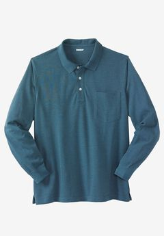 Long-Sleeve Piqué Polo Shirt ,