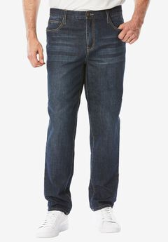 Relaxed Fit 5-Pocket Stretch Jeans by Liberty Blues®, DARK BLUE WASH, hi-res