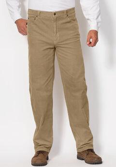 5-Pocket Invisible Stretch Corduroy Pants by Liberty Blues®, KHAKI, hi-res