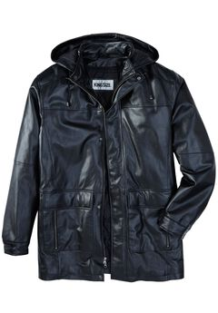 Leather Parka with Hood, BLACK, hi-res