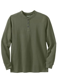Easy-Care Ribbed Knit Henley Tee, OLIVE, hi-res