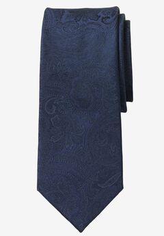 Extra Long Paisley Tie by KS Signature, MIDNIGHT NAVY PAISLEY