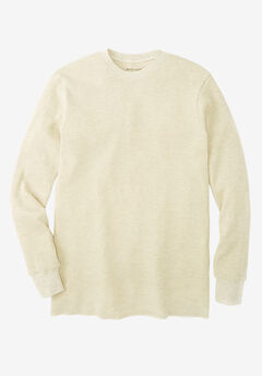 Heavyweight Thermal Crewneck Tee, HEATHER OATMEAL