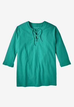 Gauze Lace-Up Shirt, EMERALD, hi-res