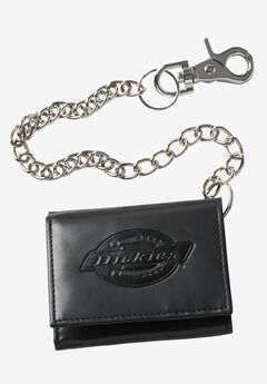 Leather Trifold Wallet with Chain by Dickies®, BLACK, hi-res