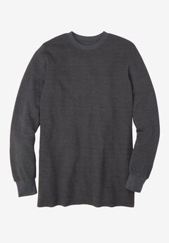Heavyweight Thermal Crewneck Tee, HEATHER SLATE