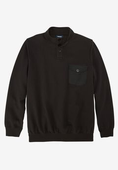 Fleece Henley, BLACK, hi-res