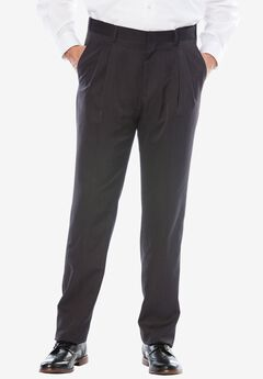 No Hassle® Modern Fit Expandable Waist Double-Pleat Dress Pants, HEATHER CHARCOAL, hi-res