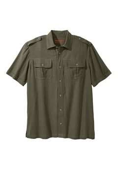 Linen Short Sleeve Pilot Shirt by Boulder Creek®, OLIVE, hi-res