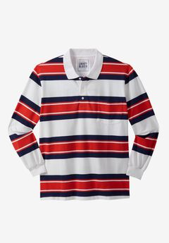 Long-Sleeve Polo by Liberty Blues®, BRICK RED RUGBY