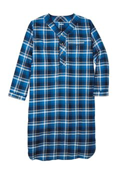 Plaid Flannel Nightshirt, TWILIGHT PLAID, hi-res