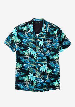 Tropical Caribbean Print Shirt by KS Island™, BLACK PALM