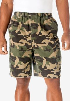 9' Renegade Cargo Shorts with Full Elastic Waist by Boulder Creek®, OLIVE CAMO, hi-res