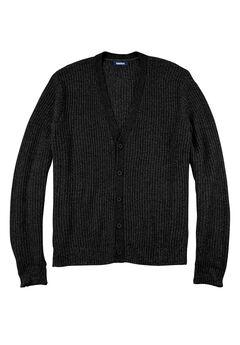 Shaker Knit V-Neck Cardigan Sweater, BLACK, hi-res