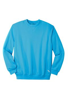 Wicking Fleece Crewneck by KS Sport™, ELECTRIC TURQUOISE, hi-res