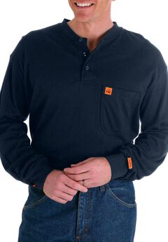 RIGGS Workwear® Flame Resistant Long Sleeve Henley by Wrangler®, NAVY, hi-res