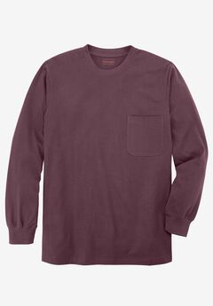 Heavyweight Long-Sleeve Pocket Crewneck Tee by Boulder Creek®, PURPLE WOOD, hi-res