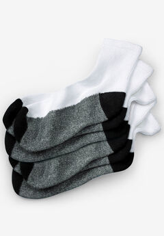 3-Pack 1/4 Length Cushioned Crew Socks, WHITE, hi-res
