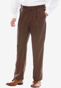 Easy-Care Classic Fit Expandable Waist Double-Pleat Front Dress Pants, BROWN