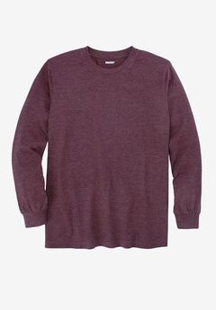 Heavyweight Long-Sleeve Pocketless Crewneck Tee by Boulder Creek®, PURPLE WOOD, hi-res