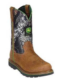 John Deere 11' Pull-On Camo Steel Toe Boots, TAN MOSSY OAK, hi-res