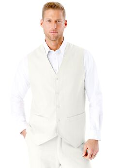 Linen Blend 5 Button Suit Vest by KS Island™, WHITE, hi-res