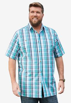 Short-Sleeve Plaid Sport Shirt, TIDAL GREEN PLAID, hi-res