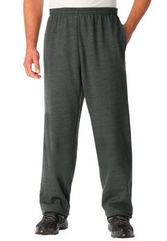 Fleece Open-Bottom Pants, HEATHER CHARCOAL, hi-res